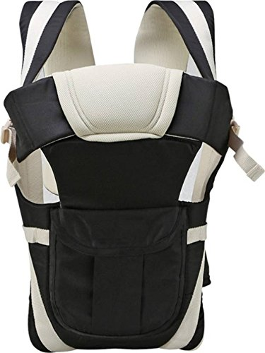 Smilecasters Adjustable Handsproof 4-in-1 Baby Carrier with Comfortable Head Support & Buckle Straps - Black