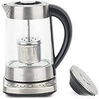 H.Koenig TI700Teiera automatica per tè/tisane, Filtro rimovibile, Acciaio Inox/Vetro, 1,7L, 2300W