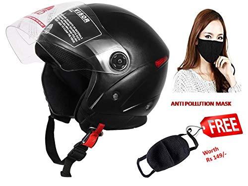 JMD Helmets Grand Open Face Helmet (Black, M)