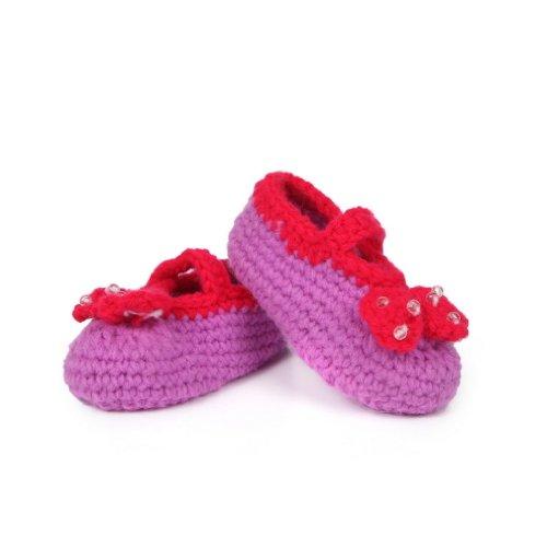 EOZY Unisexe Bébé Chaussures Tricot Main-Tissage en Dessin de Nśud Papillon avec Boules pour Des Filles Garçons de 0 à 18Mois 11CM Chaud Violet