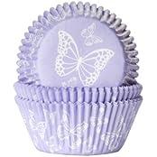 """Muffinförmchen, mit Aufdruck """"Schmetterling Lila"""", 50 Stück - Papierbackförmchen"""