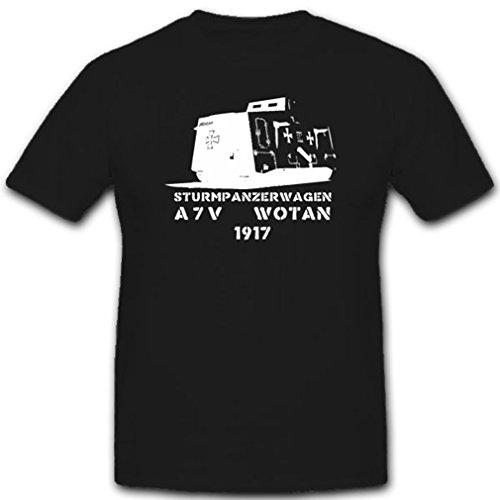 WK Panzerung Militär Heer Stpzkrw A7v Dmg Fronteinsatz Überlandwagen Abteilung Verkehrswesen T Shirt #1844, Farbe:Schwarz, Größe:Herren 4XL