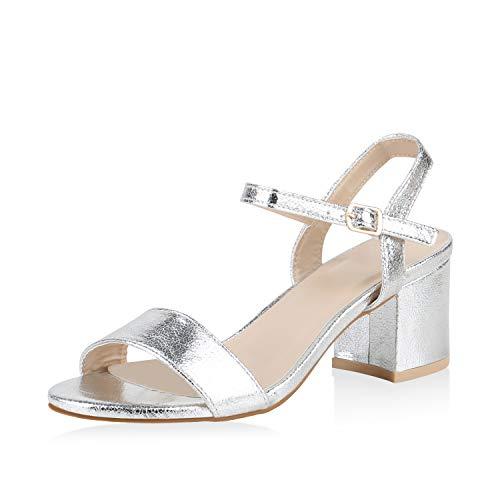 SCARPE VITA Damen Riemchensandaletten Blockabsatz Sandaletten Sommer Schuhe Mid Heel Absatzschuhe Klassische Metallic 173917 Silber Metallic 37 - Mid Heel Heels Schuhe