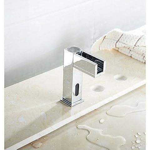 HanMei bagno Moderno miscelatore monocomando per lavabo bagno, con luce LED con sensore della Touchless Daw-Miscelatore per lavello cromato, acqua calda e fredda, 58 x 8 cm