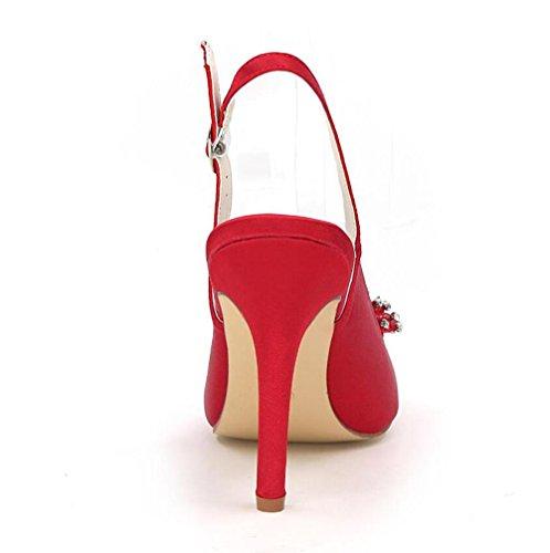 Ei&iLI Raso scarpe da sposa Open Toe femminile Fibbia Tacchi alti Abito da damigella d'onore del partito ER35-EU43 Black