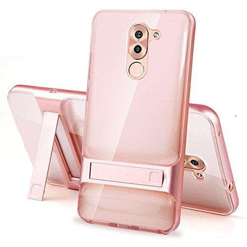 Huawei Honor 6X Funda - SMTR® Calidad premium Cubierta Slim (2 in 1) TPU+PC Armor Funda sigilo bracket para Huawei Honor 6X Smartphone - transparente Oro rosa