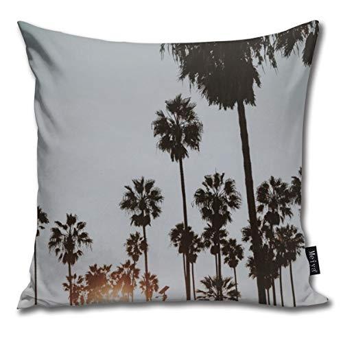 QMS CONTRACTING LIMITED Baumwolle Kissenbezug, Dekorative Atmungsaktiv Kissenbezüge Dekokissen deckt Für Home Auto Bett Sofa Büro Dekor(18 x 18)-Palm Trees Vi Venice Beach, California