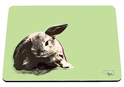 Hippowarehouse Contemplation devant la Lapin Pop Art imprimé Tapis de souris accessoire de base en caoutchouc Noir 240mm x 190mm x 60mm, Green, taille unique