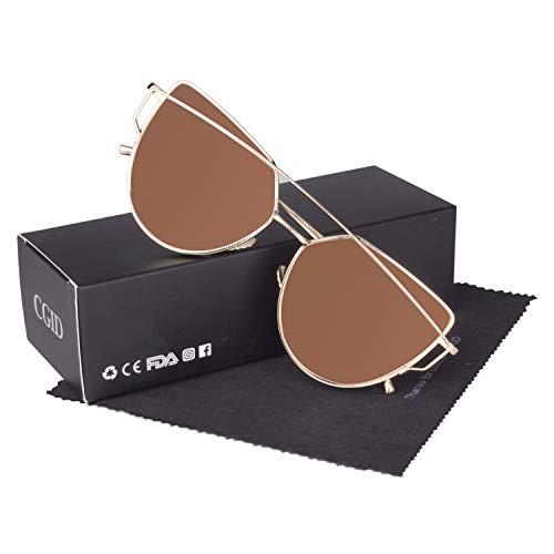 CGID Mode Polarisierte Katzenaugen Sonnenbrille For Damen UV400 reflektierenden Spiegel, A7 Gold Braun,
