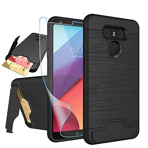 LG G6Fall, LG G6Karte Fall mit HD Displayschutzfolie, niubox [Slot Brieftasche für 2Karten] [Standfunktion] Dual Layer Hybrid Stoßdämpfung Schutzhülle Handy Fall für LG G6(Verizon 2017), Schwarz (Lg, Verizon Handy-fällen)