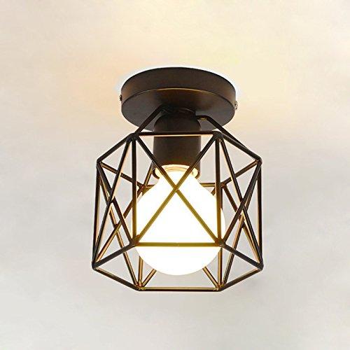 Plafoniera lampadario, koonting retro vintage industriale lampada da soffitto in metallo nero gabbia ferro, per corridoio, portico, camera da letto, ecc.(shape:a)