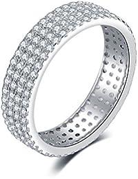 JewelryPalace Zirconia cúbicos de las mujeres Anillo de aniversario de la eternidad Banda de bodas plata