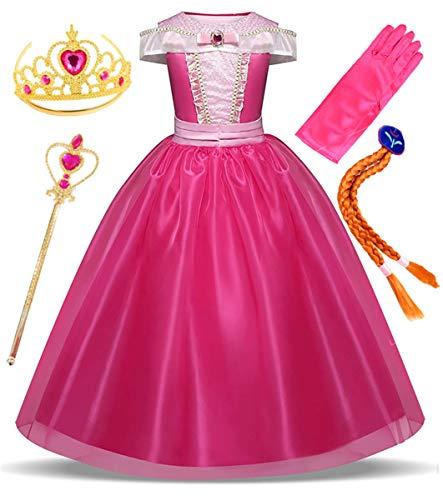 Prinzessin Erwachsene Für Aurora Kostüm - LCXYYY Mädchen Prinzessin Aurora Kostüm Karneval Verkleidung Party Kleid Cosplay Faschingskostüm Weinachten Halloween Eiskönigin Kostüme Set aus Diadem, Handschuhen, Zauberstab und Zopf(3-8Jahre,Rosa)