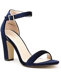 Ideal Shoes - Sandales à talon carré effet velours Henola