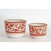 Coppia di coprivaso in ceramica di Caltagirone