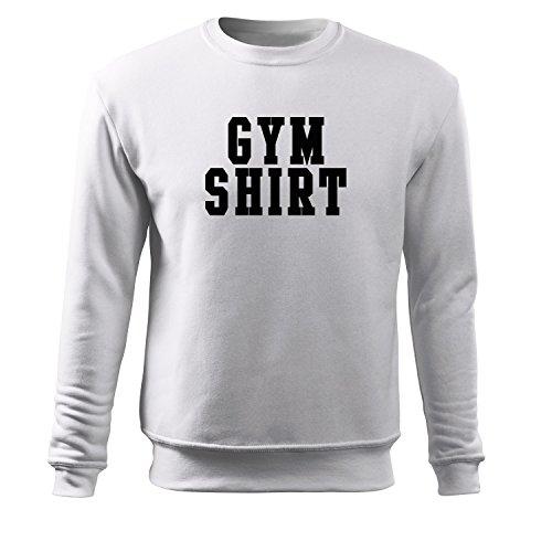 Herren gym shirt Pulli schwarz & weiß Motiv - T-Shirt Poloshirt mit Motiv - Neu S-XXxL (373-Sweat-Weiß-XXL) (Brown Kleidung Chris)