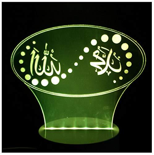 Stimmung Der Farben-3D Führte Islam-Gott Allah Segnen Quran-Arabische Tabellen-Schreibtisch-Nachtlicht Usb-Schlaf-Beleuchtungs-Feiertags-Geschenk-Noten-Schalter