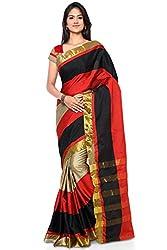 Buyonn Women's Cotton Saree (OFS1101-C1_Black_Free Size)