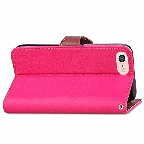 Eaquro Wallet Cover iPhone 8 Custodia a portafoglio con Card Slot [chiusura magnetica] in pelle ultra-sottile con funzione di supporto,Cover Morbido Antipolvere Protezione per iPhone 8 - Nero Rosa