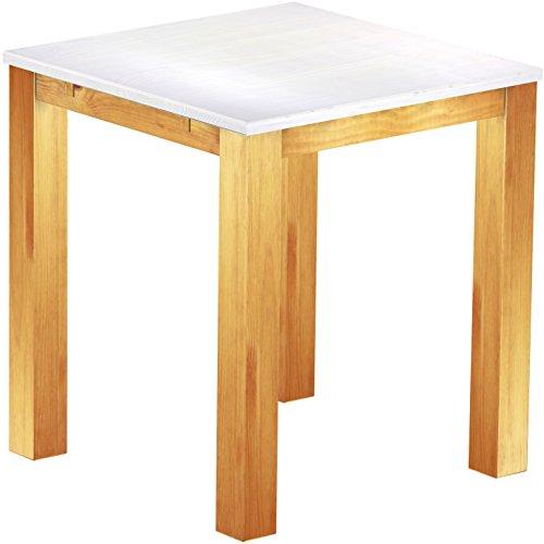 Brasil Meubles Haut 'Rio Classico' Table 120 x 120 cm, Pin Massif, Teinte Snow – Miel