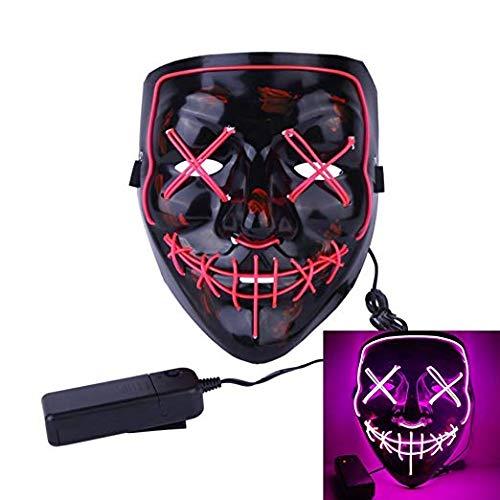 J Robin LED Maske Halloween Masken 3 Einstellbare Blitzmodi für Festival Cosplay Halloween Kostüm (Rosa)
