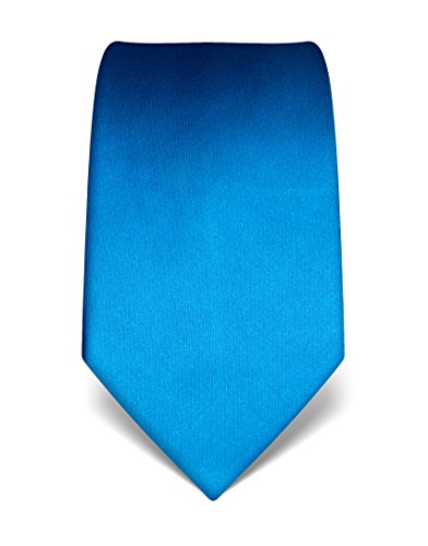 Vincenzo Boretti Herren Krawatte reine Seide uni einfarbig edel Männer-Design gebunden zum Hemd mit Anzug für Business Hochzeit 8 cm schmal/breit neonblau