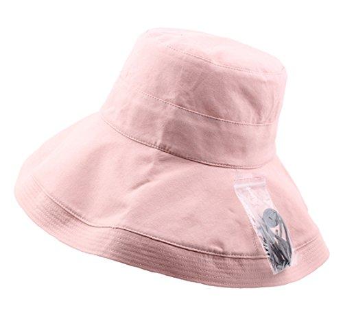 Damen Sonnenhüte Fischerhüte Faltbarer Sommer Breite Krempe Sonnen Schutz Buschhut (Rosa)