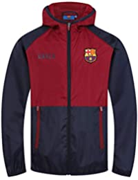 5e2f9f065 FC Barcelona Official Football Gift Boys Shower Jacket Windbreaker Navy Blue
