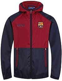 FCB FC Barcelona - Chaqueta Cortavientos Oficial - para niño - Impermeable  - Azul Marino  b0a4a9376a8
