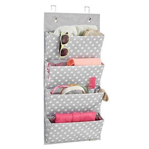 mDesign Hängeaufbewahrung mit 4 Taschen – Schlafzimmer Aufbewahrung für Schuhe, Accessoires und Kleidung – Taschengarderobe zum Hängen mit Pünktchen-Muster – grau/weiß