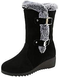 JUWOJIA Las Mujeres Botas De Nieve Suede Color Sólido Round Toe Cuñas Mantenga Caliente Correa De Bandolera Calzado Casual,Negro,42