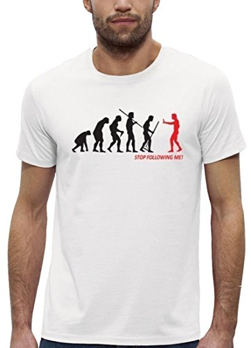 Lustiges Premium Herren T-Shirt aus Bio Baumwolle EVOLUTION STOP FOLLOWING ME! Stanley Stella White