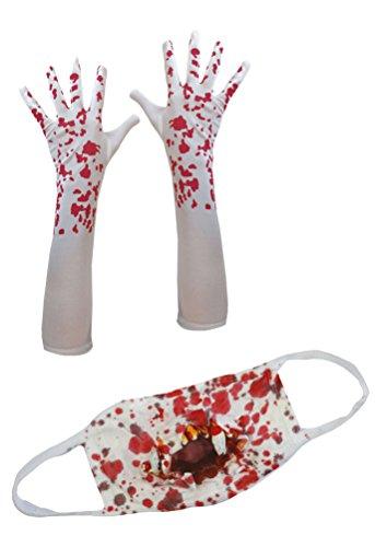 Karneval Klamotten Handschuhe mit Blut Mundschutz blutig Zombie Horror