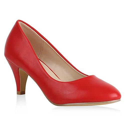 Klassische Damen Pumps Basic Leder-Optik Schuhe Stiletto Mid Heels 159544 Rot Camargo 38 Flandell - Mid Heel Heels Schuhe