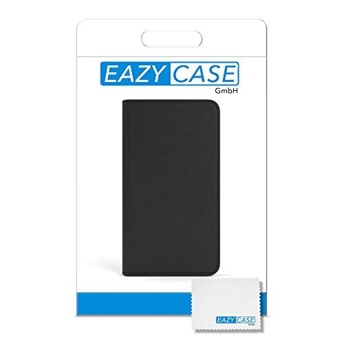Apple iPhone 6S Plus / 6 Plus Tasche, EAZY CASE Book-Style Case Jeans, Premium Handyhülle mit Kartenfach, Schutzhülle Geldbeutel mit Standfunktion, Wallet Case in Hellgrau Schwarz - Vintage