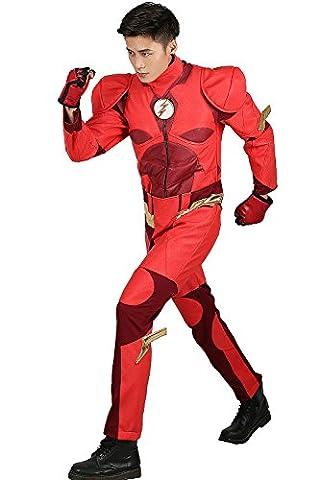 Held Kostüm Deluxe Rot PU Leder Outfit Cosplay Halloween Männer Erwachsene Fancy Dress Anzug Kleidung (Barry Allen Halloween-kostüm)