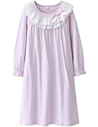 246d97beba Girls  Lace Nighties   Bowknot Nightgowns 100% Cotton Sleepwear for Toddler  3-13