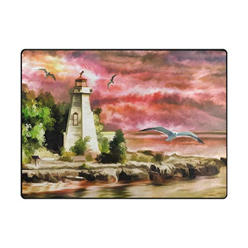 MALPLENA Art Lighthouse and Sea Mew Tapis de Sol antidérapant pour entrée, Polyester, 1, 80 x 58 inch