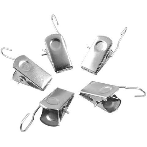 20 pezzi di clip in metallo tono argento per tendina