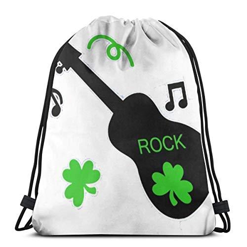 Bag hat Shamrock Guitar Rock 3D Print Drawstring Backpack Rucksack Shoulder Gym for Adult 16.9