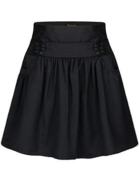 ZhiYuanAN Mujer Falda Plisada Corta Con Dos Bolsillos Casual Falda Midi Vuelo Salvaje A Línea Falda Acampanada...