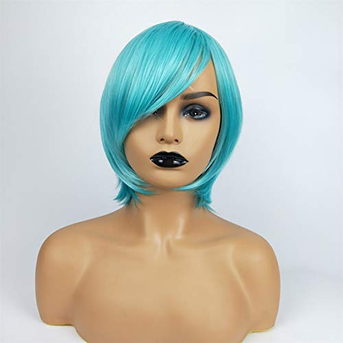 (Wig Wigs Girls Bob Short Straight Hair Blue Oblique Bangs Beauty Wig Halloween Christmas Party Role Playing,Blue)