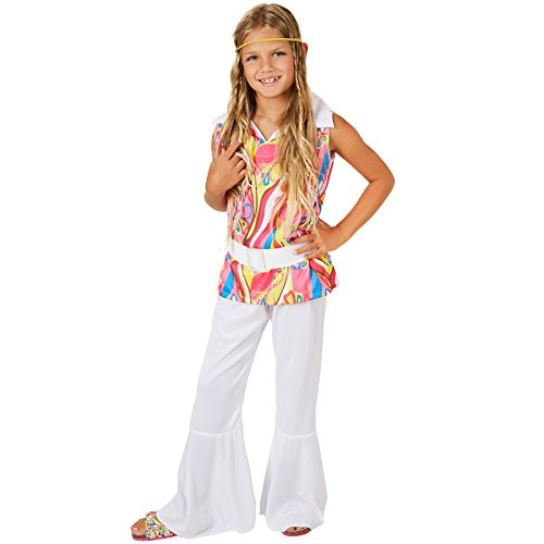 Girls Disco Costume with Colourful Pattern Top, Flares, Belt and Headband. Ages 3 to 14 Years.