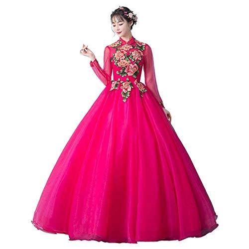 QAQBDBCKL heißes Rosa Stickerei Blume Lange mittelalterliche Renaissance Kleid Ereignis Kostüm viktorianischen gotischen Marie Antoinette Colonial (Gotische Viktorianische Kleider Kostüm)