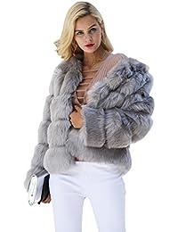simplee abbigliamento donna autunno - inverno caldo e soffice pelliccia sintetica giacca indumenti esterni