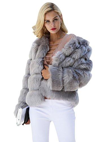 fake fell jacke Simplee Apparel Damen Mantel Winter Elegant Warm Faux Fur Kunstfell Jacke Kurz Mantel Coat Grau