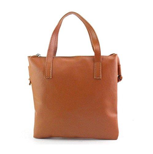 Mujer bolso de cuero Sannysis bolsa de Mensajero (Marrón)