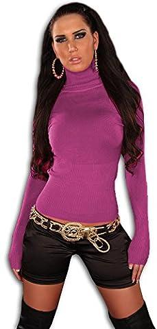 In Style Damen Pullover langärmelig mit Rollkragen, pink Größe 36