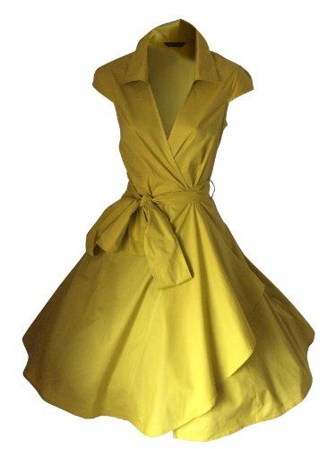 LOOK FOR THE STARS Retro Vintage Kleid Abend Party 50er Jahre Stil Rockabilly / Sommerkleid/Cocktailkleid, Größen EU 34-52 Senf