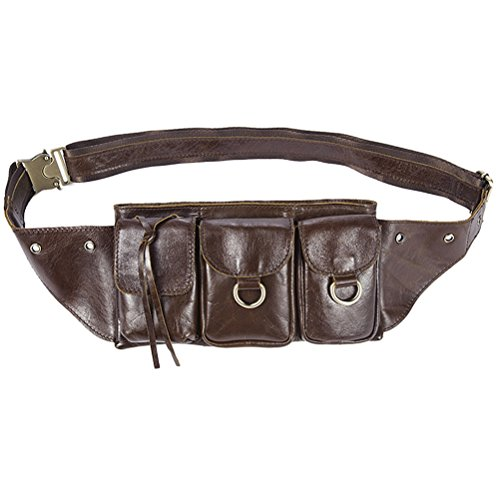 Zhuhaitf Leder Mens Boyfriend Soft Luxury First Cowhide Leather Working Holiday Hiking Crossbody Waist / Shoulder Bag Hip Pouch Birthday Gift Present (Purse Hip Bag)